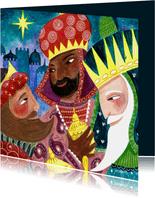 Kerstkaart illustratie drie koningen wijzen relikwieen