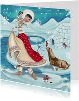 Kerstkaart Illustratie Eskimo