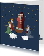 Kerstkaart illustratie geboorte Jezus kerststal