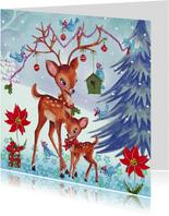Kerstkaart Illustratie Hertjes