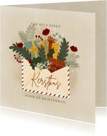 Kerstkaart illustratie kerstkus door de brievenbus, kusjes
