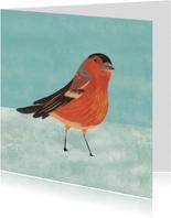 Kerstkaart illustratie vogeltje in sneeuw