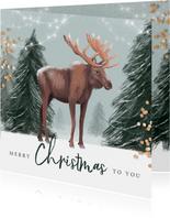 Kerstkaart illustratie winter eland hert lampjes confetti