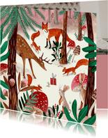 Kerstkaart illustratie woodland wonders dieren in bos