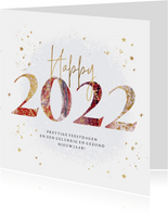 Kerstkaart jaartal 2022 verf goudspetters sterren