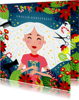 Kerstkaart kapper met vrolijke illustratie