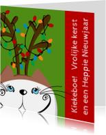 Kerstkaarten - Kerstkaart kat als rendier
