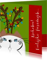 Kerstkaart kat als rendier