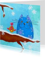 Kerstkaart Kat en Vogeltje in de winter