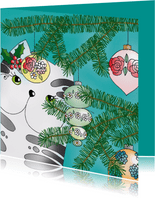 Kerstkaart kat kerstboom - SK