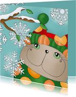 Kerstkaart kat sneeuwsterren - sk