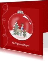 Kerstkaart - kerstbal met Rudolf