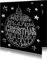 Kerstkaart kerstbal zwart-wit