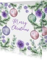 Kerstkaart kerstballen botanische takjes