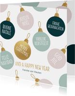 Kerstkaart kerstballen talen goud pastel