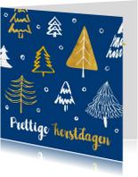 Kerstkaart kerstbomen blauw en goud