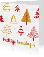 Kerstkaart kerstbomen rood en goud