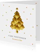 Kerstkaart kerstboom goud blokken