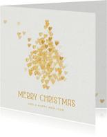 Kerstkaart kerstboom gouden hartjes op wit