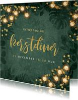 Kerstkaart kerstdiner botanisch goud confetti uitnodiging