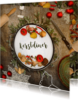 Kerstkaart kerstdiner sfeer keuken