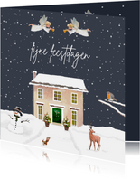 Kerstkaart Kersthuis met engelen