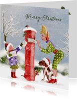 Kerstkaart kerstkaart op de post