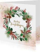 Kerstkaart kerstkrans dennentak vogel watercolour goudlook