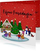 Kerstkaart kerstmis kerst schaatsen