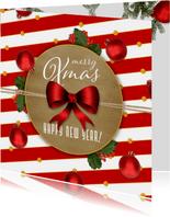 Kerstkaart klassiek kerstballen en strik
