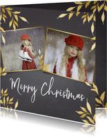Kerstkaart krijtbord vierkant voor 2 foto's