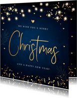 Kerstkaart lampjes confetti typografie donkerblauw