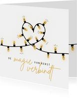 Kerstkaart lampjes hart
