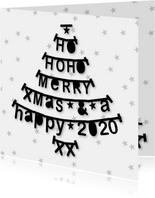 Kerstkaart letterslinger boom zwartwit