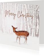 Kerstkaart lief hertje in de sneeuw