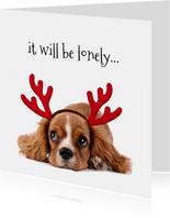 Kerstkaart lief hondje met gewei