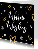 Kerstkaart liefde hartjes goud warm wishes