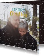 Kerstkaart liefdevolle kerst en sneeuwvlokjes effect