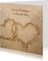 Kerstkaart liefdevolle zand hartjes