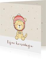 Kerstkaart - Luipaard met kerstmuts