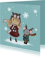 Kerstkaart Maple and Chestnut Sneeuwvlokjes