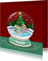 Kerstkaart Maple and Chestnut Snow Globe