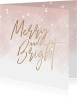 Kerstkaart Merry and Bright met waterverf en sneeuw