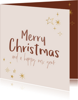 Kerstkaart Merry Christmas and a happy new year gouden ster