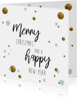 Kerstkaart. Merry Christmas and a happy new year mint/goud