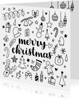 Kerstkaart - Merry Christmas doodles