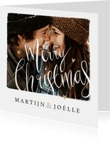 Kerstkaart merry christmas kalligrafie foto hartjes goud