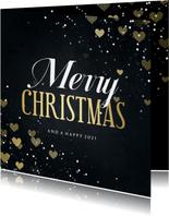 Kerstkaart Merry Christmas met hartjes en spetters