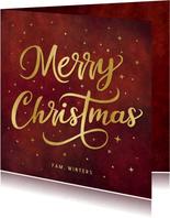 Kerstkaart Merry Christmas met sterren en goudlook letters