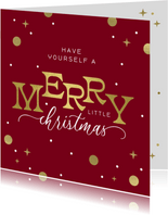 Kerstkaart Merry Christmas typografisch goud confetti